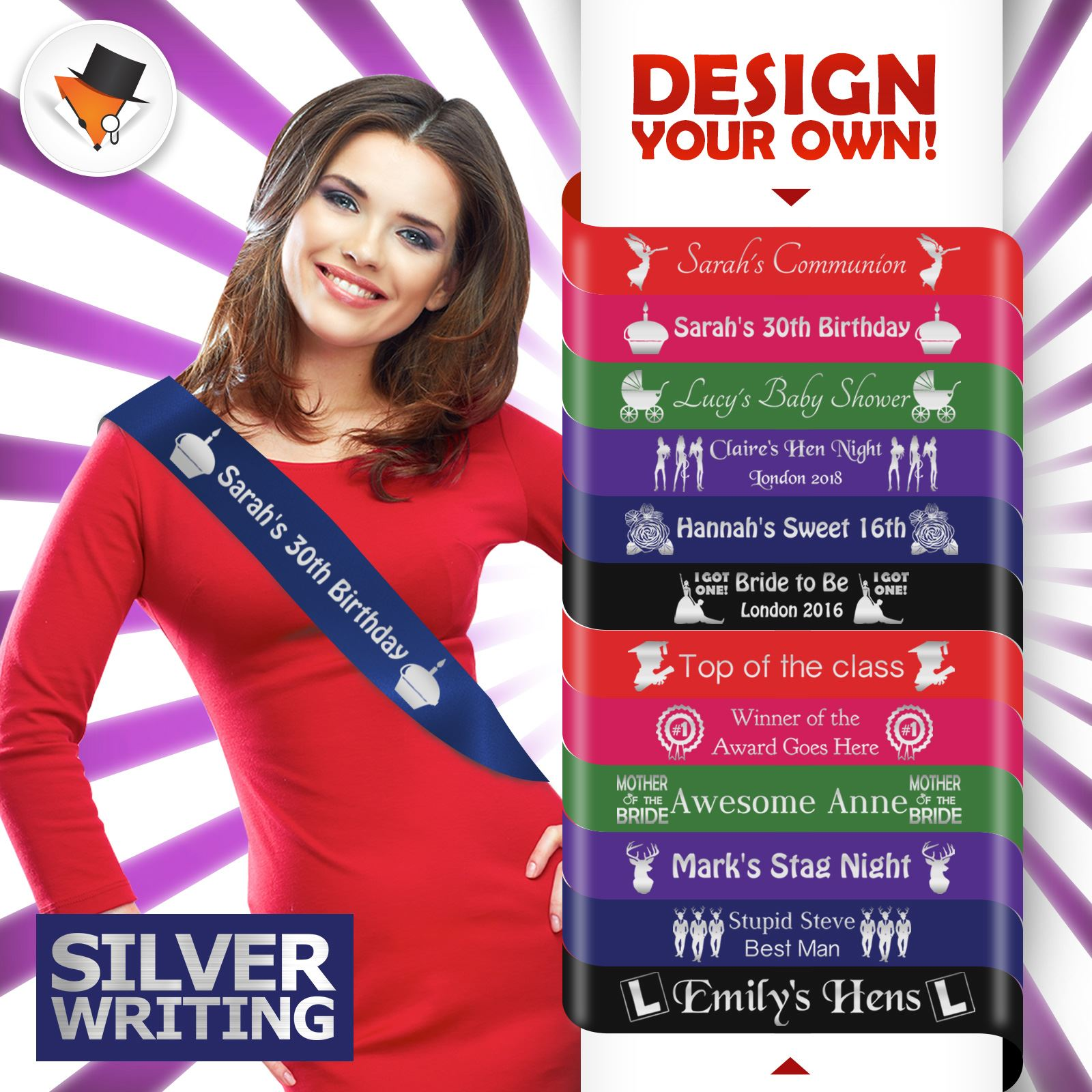 Hen Party Night Sash in White Design your own any text