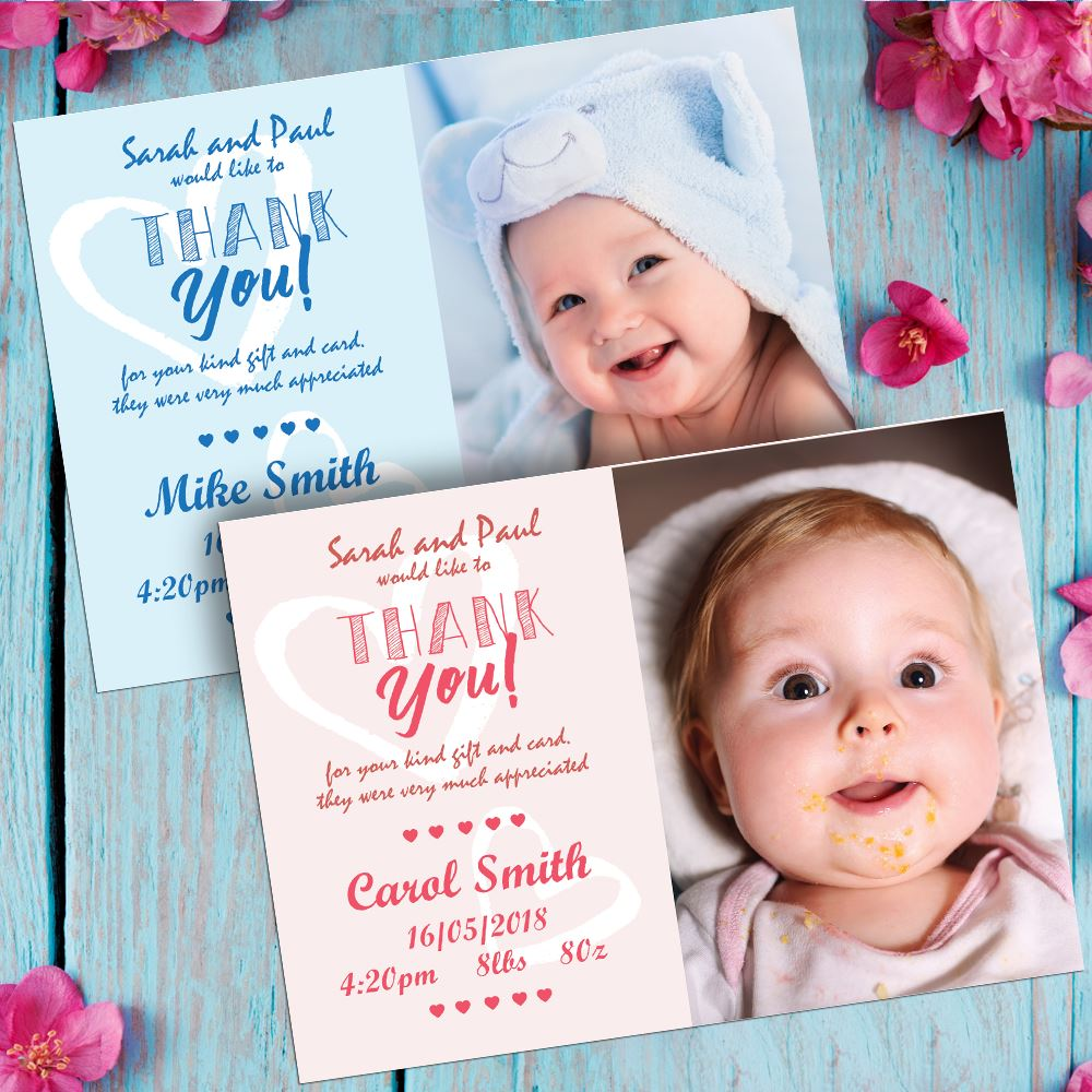 B1 10 x Personalised Thank You Cards ~ Baby Boy or Girl Birthday Christening