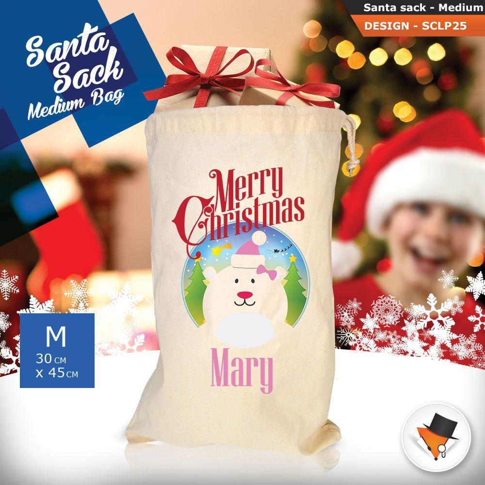 Personalizzato-Per-Bambini-Babbo-Natale-Sacco-Sacchetto-Cartone-Animato-Carina-Renna-Rosso miniatura 57