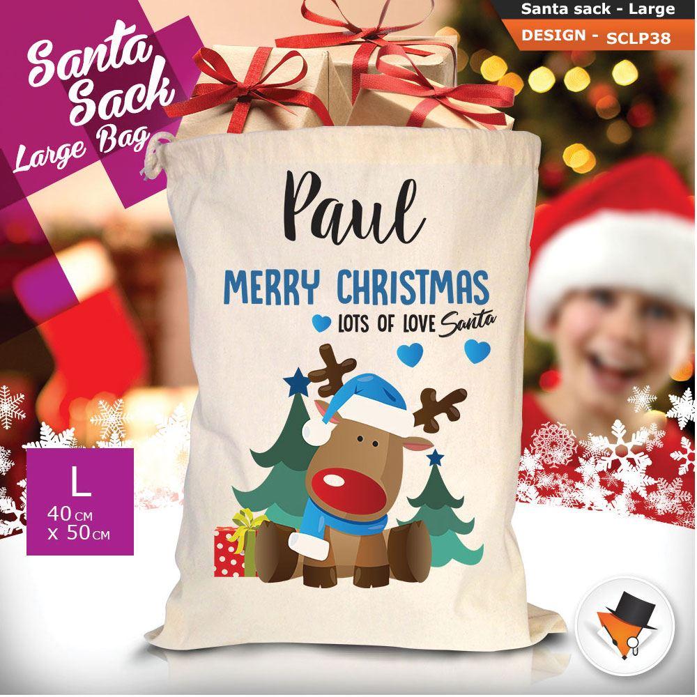 Personalizzato-Per-Bambini-Babbo-Natale-Sacco-Sacchetto-Cartone-Animato-Carina-Renna-Rosso miniatura 109