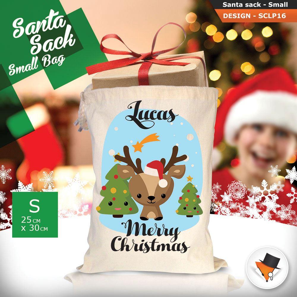 Personalizzato-Per-Bambini-Babbo-Natale-Sacco-Sacchetto-Cartone-Animato-Carina-Renna-Rosso miniatura 21