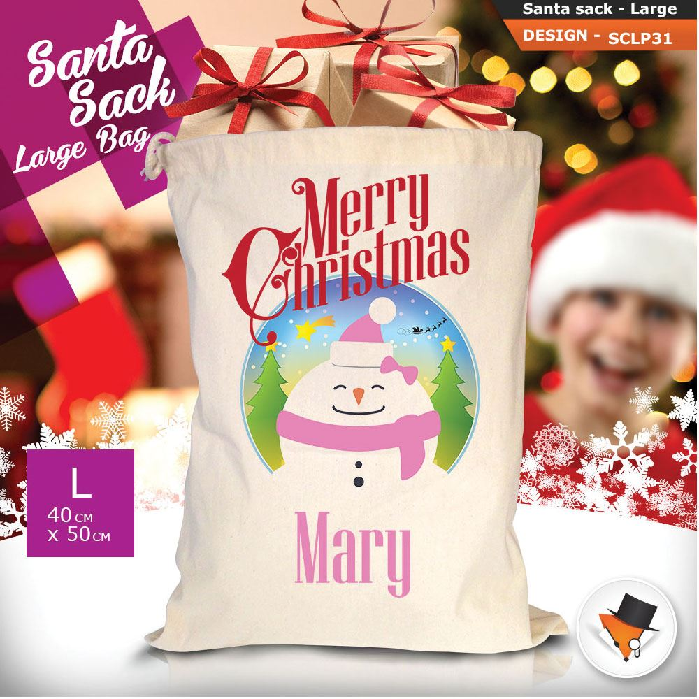 Personalizzato-Per-Bambini-Babbo-Natale-Sacco-Sacchetto-Di-Natale-Renna-Cartone-Animato-Carina-Rosa miniatura 81