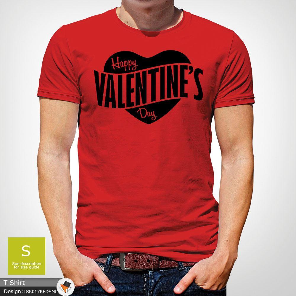 Mens Boys Happy Valentines Day Heart Logo Party Designer T Shirt Top