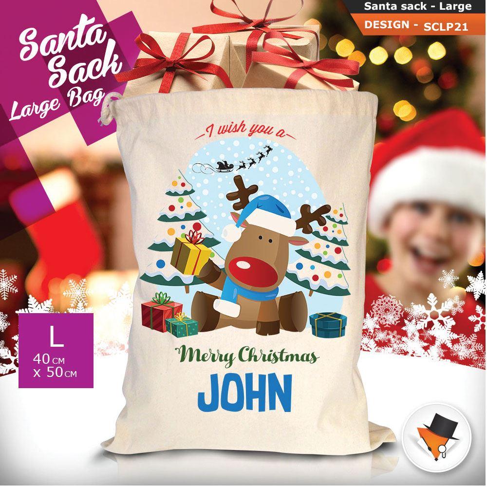 Personalizzato-Per-Bambini-Babbo-Natale-Sacco-Sacchetto-Cartone-Animato-Carina-Renna-Rosso miniatura 40