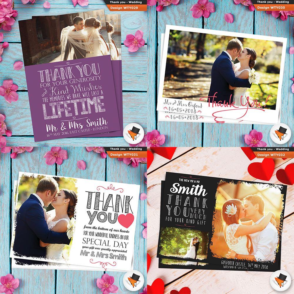 Personnalisé 5 photos mariage merci Thankyou Photo Cards Envs /& la preuve