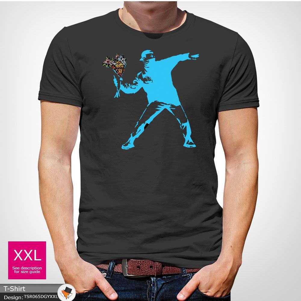 BANKSY-FLOWER-THROWER-STREET-ART-Tshirt-Unisex-T-Shirt-Christmas-Birthday-Blue miniatuur 23