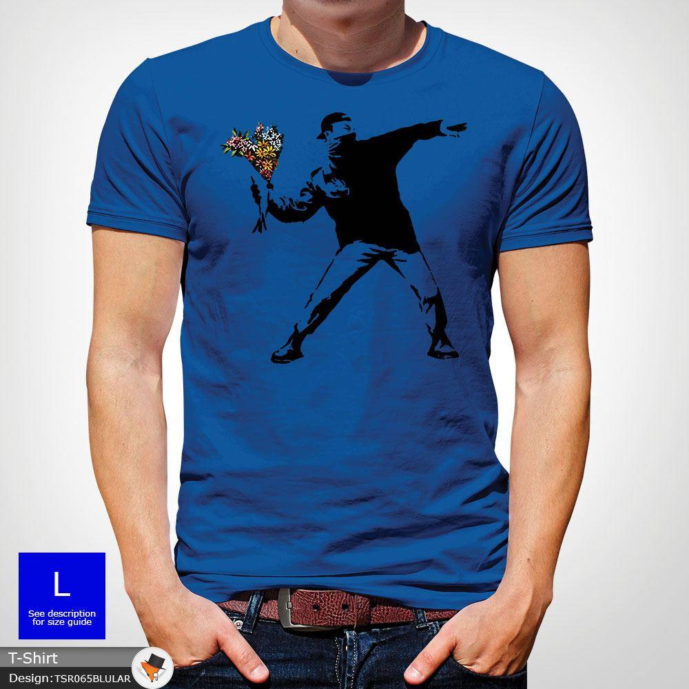 BANKSY-FLOWER-THROWER-STREET-ART-Tshirt-Unisex-T-Shirt-Christmas-Birthday-Blue miniatuur 44