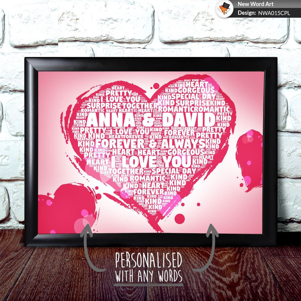 Personalised Heart Love Anniversary Engagement Birthday Christmas
