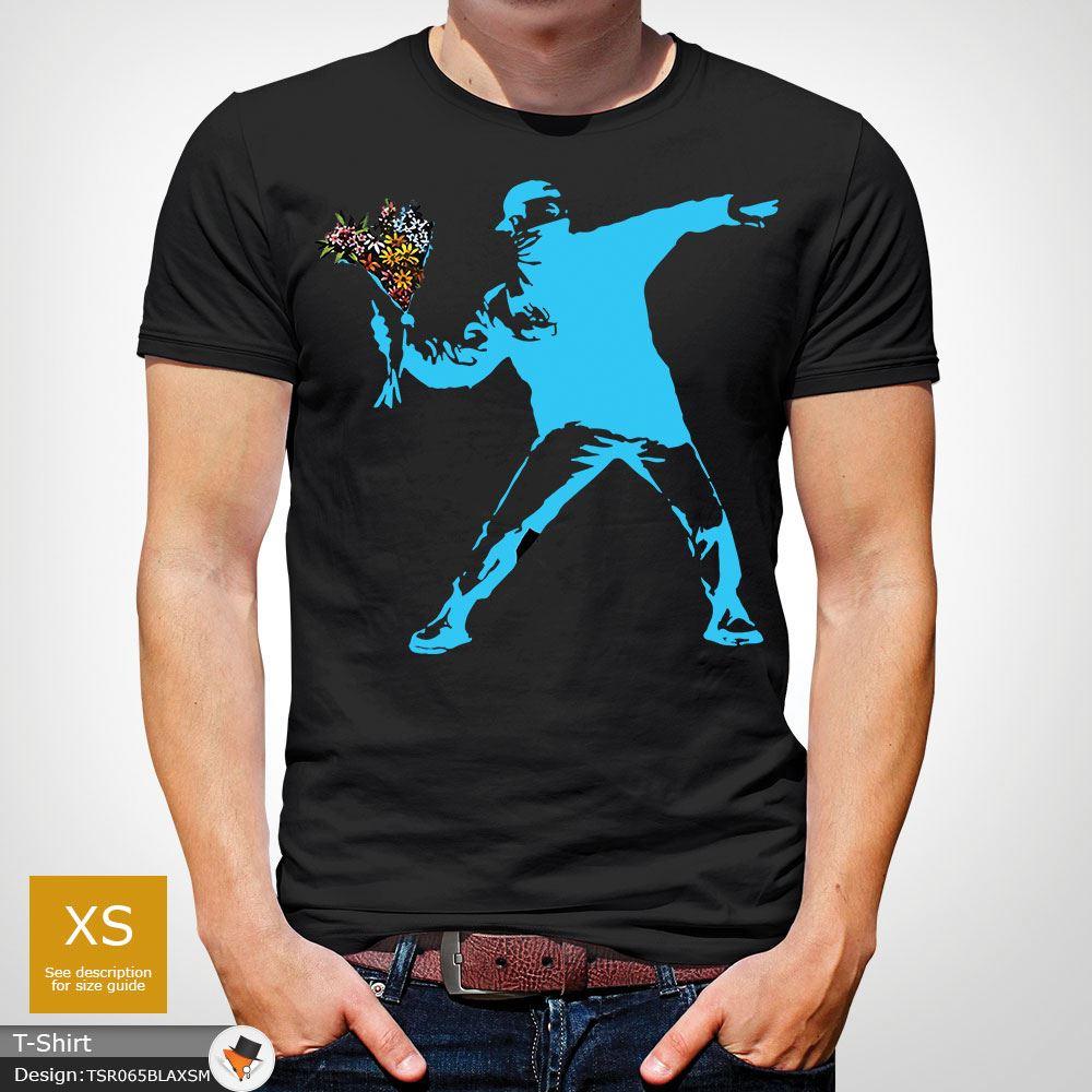 BANKSY-FLOWER-THROWER-STREET-ART-Tshirt-Unisex-T-Shirt-Christmas-Birthday-Blue miniatuur 5