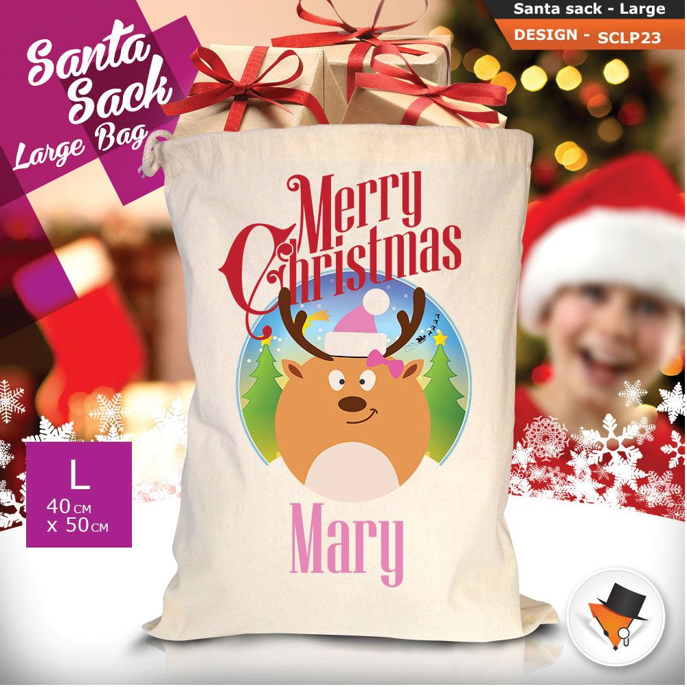 Personalizzato-Per-Bambini-Babbo-Natale-Sacco-Sacchetto-Cartone-Animato-Carina-Renna-Rosso miniatura 50