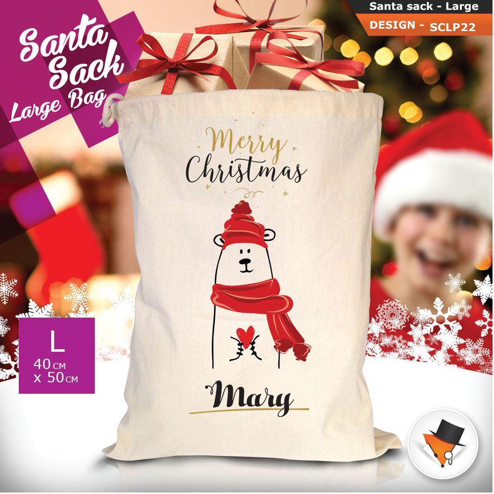 Personalizzato-Per-Bambini-Babbo-Natale-Sacco-Sacchetto-Di-Natale-Renna-Cartone-Animato-Carina-Rosa miniatura 45