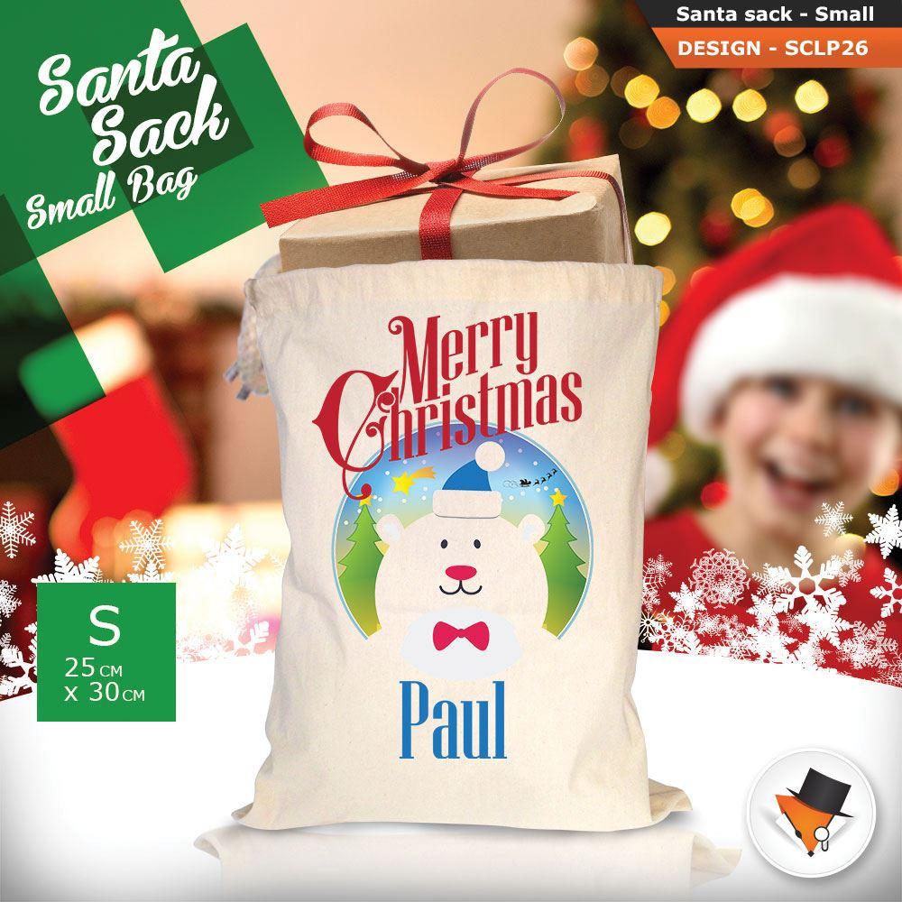 Personalizzato-Per-Bambini-Babbo-Natale-Sacco-Sacchetto-Cartone-Animato-Carina-Renna-Rosso miniatura 62