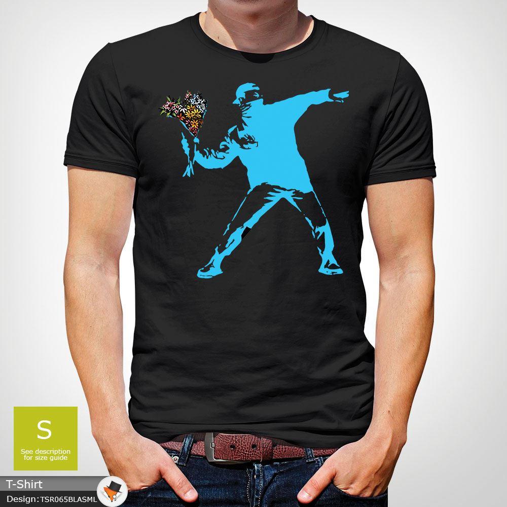 BANKSY-FLOWER-THROWER-STREET-ART-Tshirt-Unisex-T-Shirt-Christmas-Birthday-Blue miniatuur 6