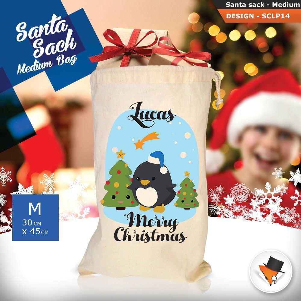 Personalizzato-Per-Bambini-Babbo-Natale-Sacco-Sacchetto-Di-Natale-Renna-Cartone-Animato-Carina-Rosa miniatura 13
