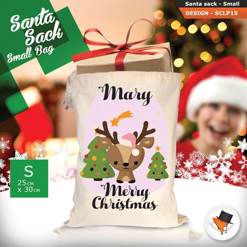 Personalizzato-Per-Bambini-Babbo-Natale-Sacco-Sacchetto-Di-Natale-Renna-Cartone-Animato-Carina-Rosa miniatura 16