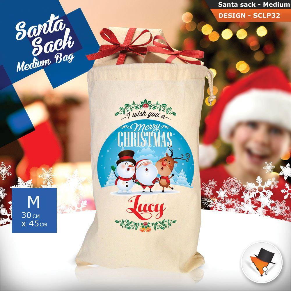 Personalizzato-Per-Bambini-Babbo-Natale-Sacco-Sacchetto-Cartone-Animato-Carina-Renna-Rosso miniatura 86