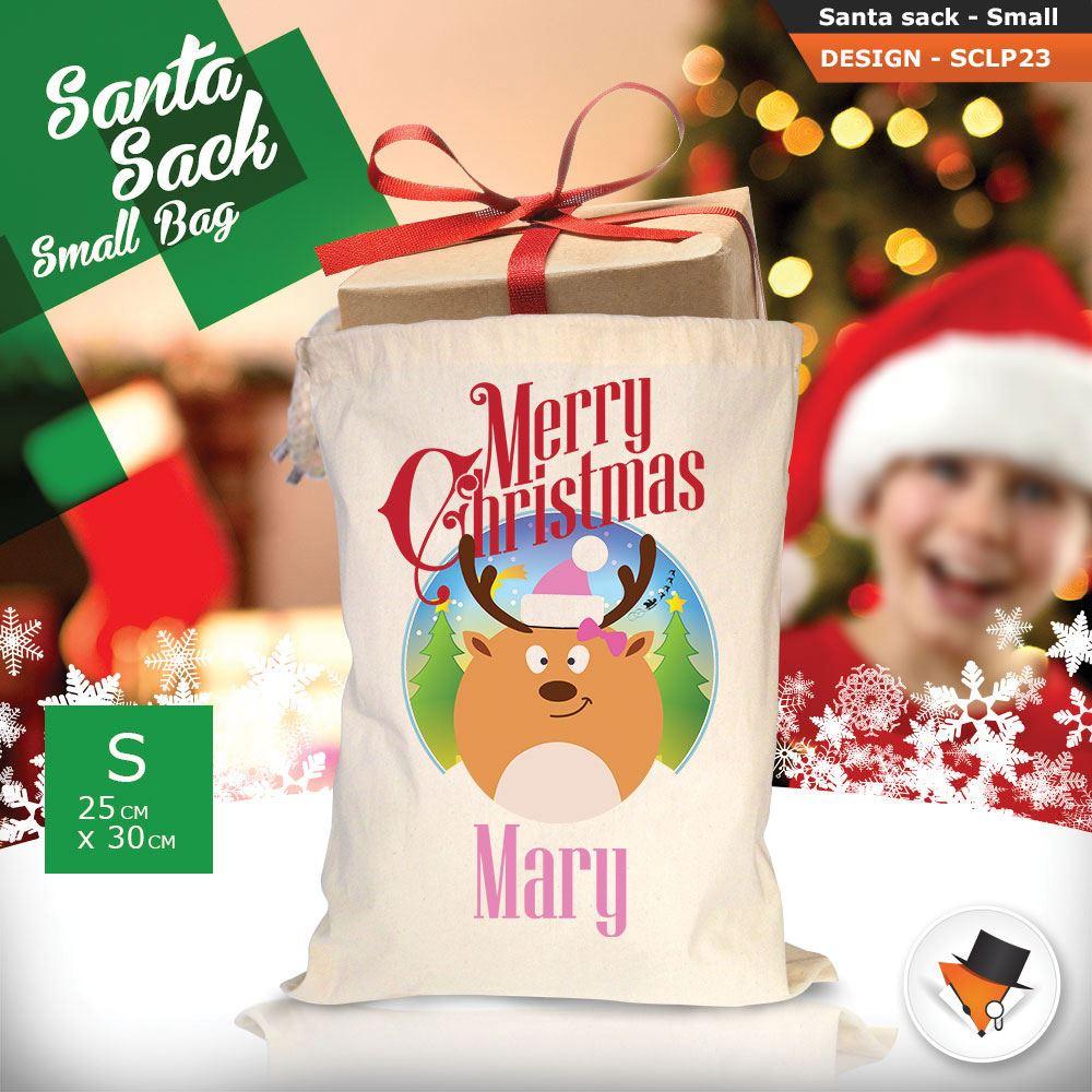 Personalizzato-Per-Bambini-Babbo-Natale-Sacco-Sacchetto-Cartone-Animato-Carina-Renna-Rosso miniatura 48