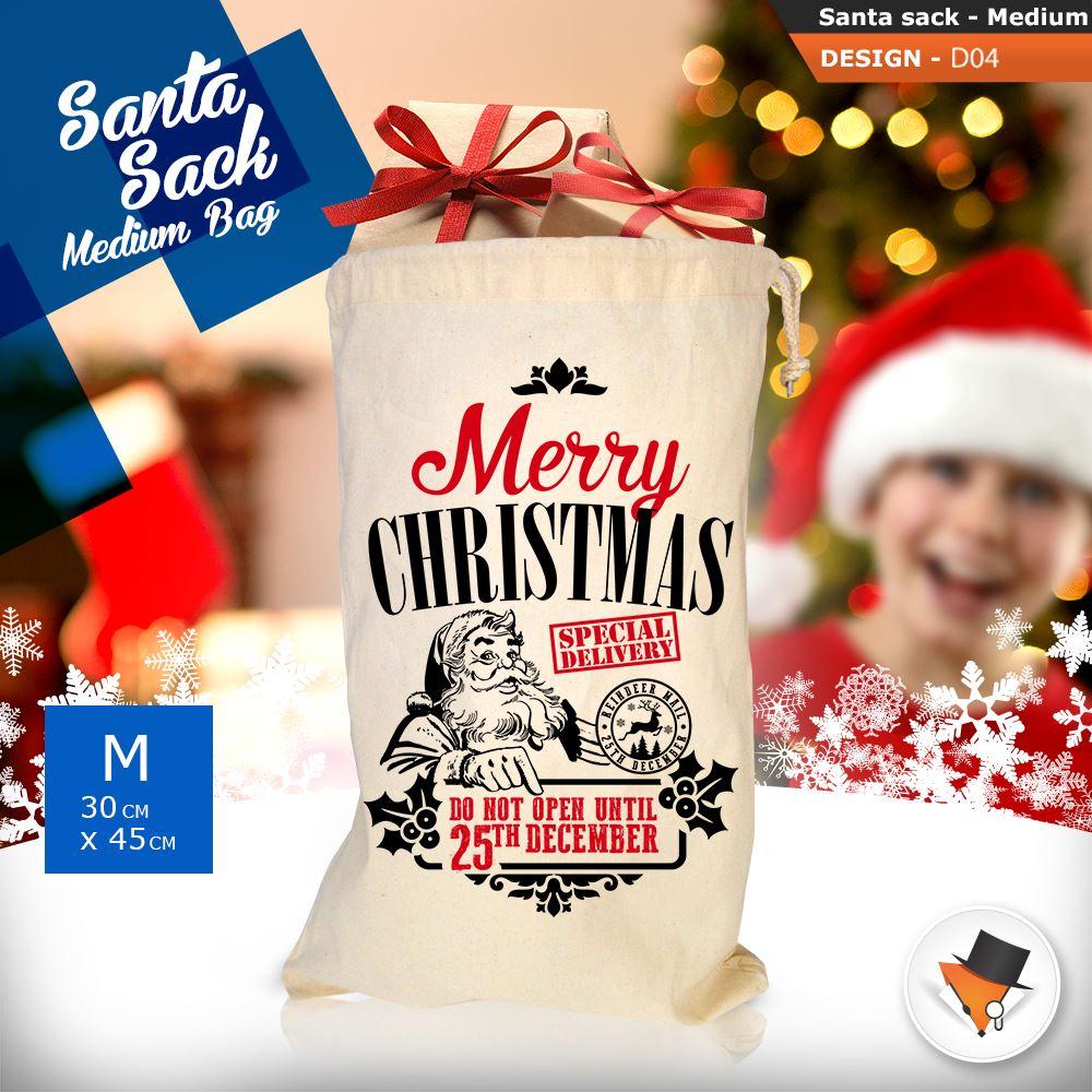 GRANDE-Babbo-Natale-Sacco-Babbo-Natale-Borsa-per-i-REGALI-DONI-NATALE-Calze-Di-Cotone miniatura 16