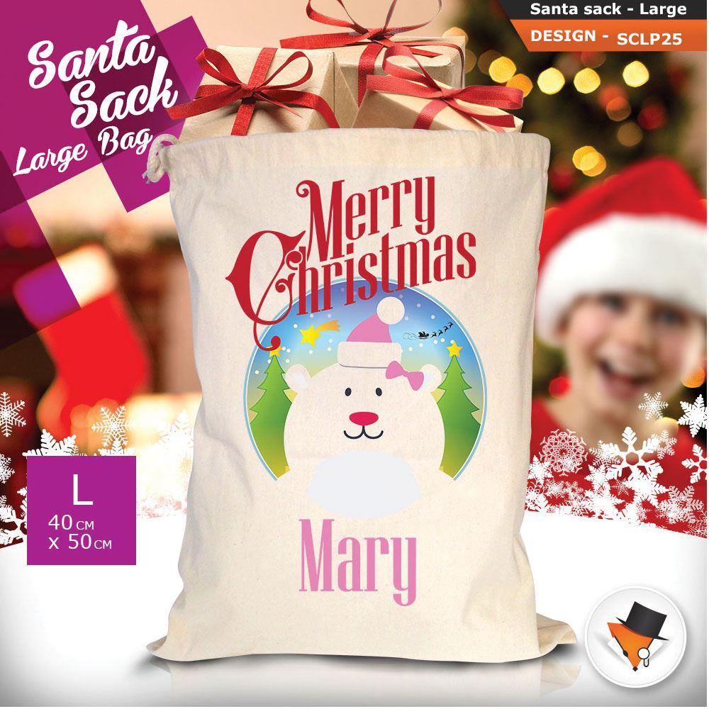 Personalizzato-Per-Bambini-Babbo-Natale-Sacco-Sacchetto-Cartone-Animato-Carina-Renna-Rosso miniatura 56
