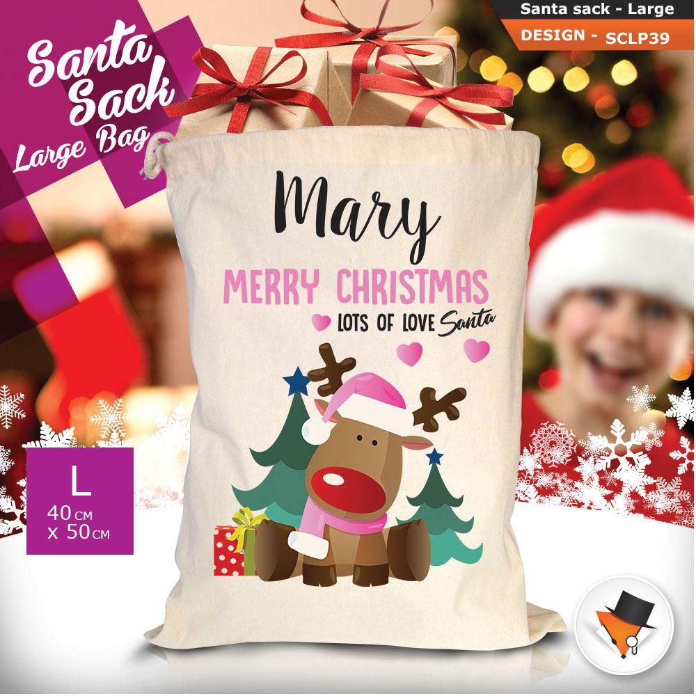 Personalizzato-Per-Bambini-Babbo-Natale-Sacco-Sacchetto-Di-Natale-Renna-Cartone-Animato-Carina-Rosa miniatura 114
