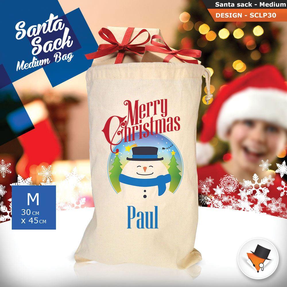 Personalizzato-Per-Bambini-Babbo-Natale-Sacco-Sacchetto-Cartone-Animato-Carina-Renna-Rosso miniatura 76