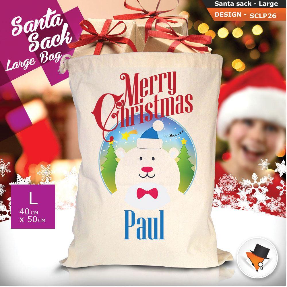Personalizzato-Per-Bambini-Babbo-Natale-Sacco-Sacchetto-Cartone-Animato-Carina-Renna-Rosso miniatura 60