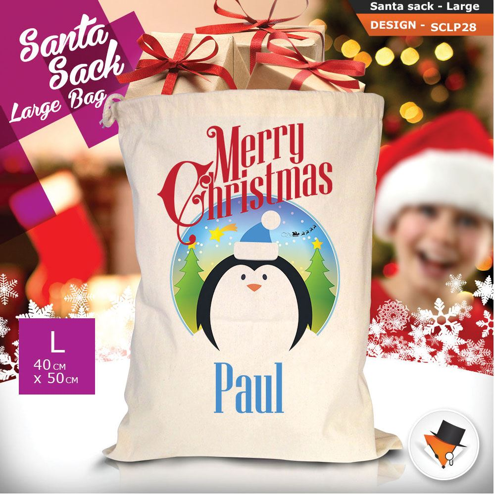 Personalizzato-Per-Bambini-Babbo-Natale-Sacco-Sacchetto-Cartone-Animato-Carina-Renna-Rosso miniatura 69