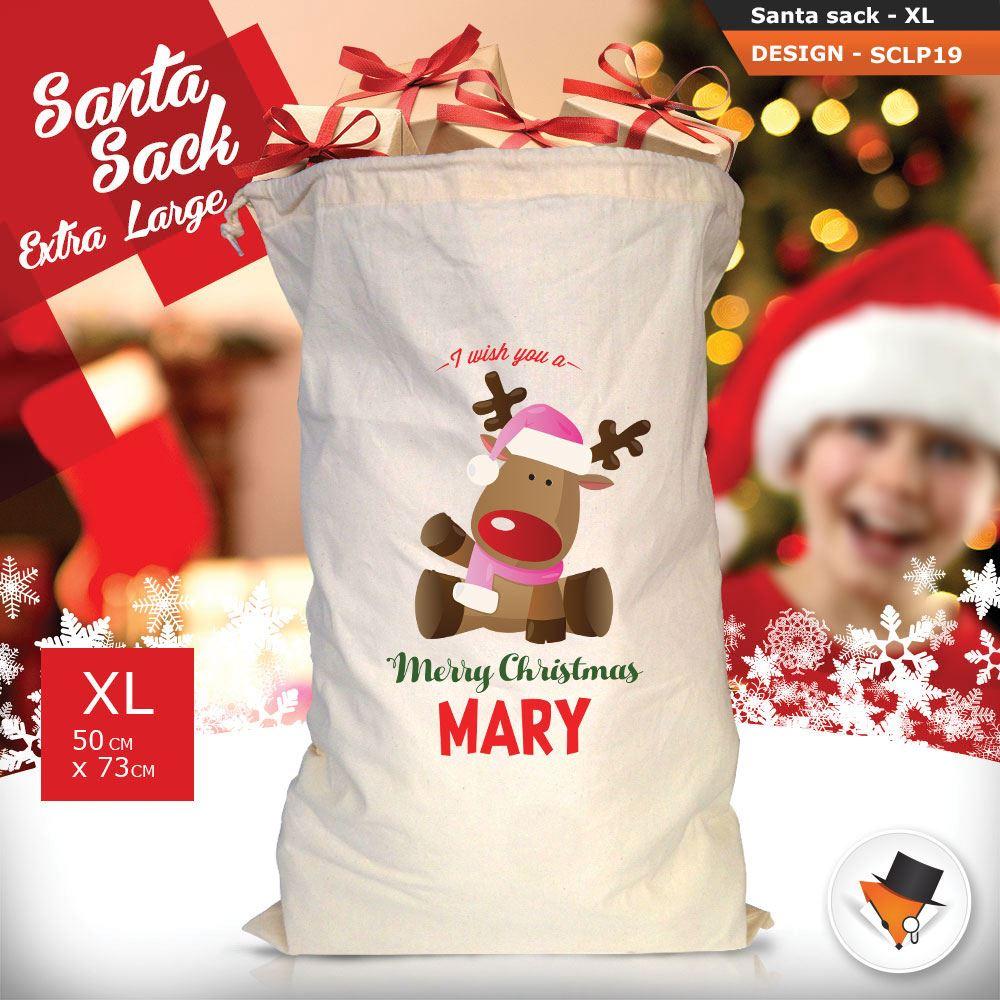 Personalizzato-Per-Bambini-Babbo-Natale-Sacco-Sacchetto-Di-Natale-Renna-Cartone-Animato-Carina-Rosa miniatura 32