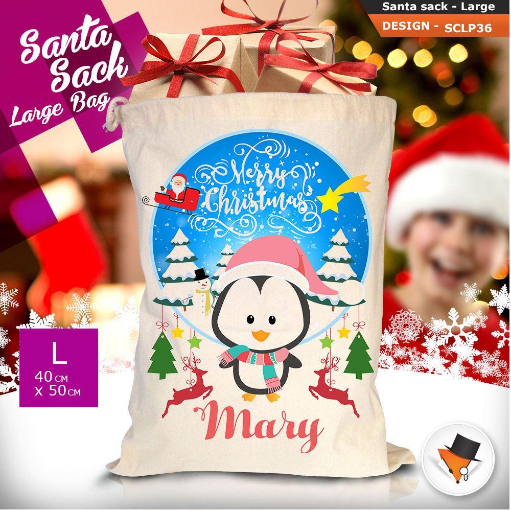 Personalizzato-Per-Bambini-Babbo-Natale-Sacco-Sacchetto-Di-Natale-Renna-Cartone-Animato-Carina-Rosa miniatura 100
