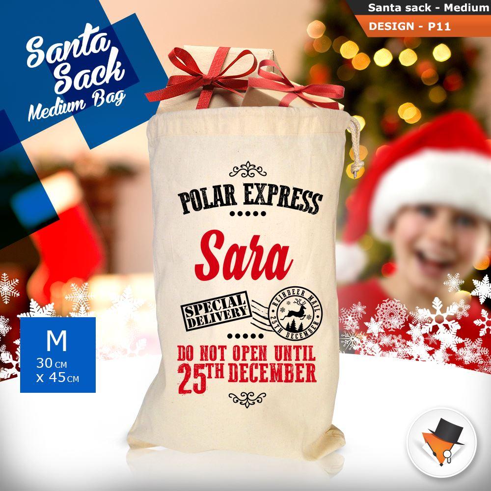 Personalised Christmas Sacks Stocking Cotton Xmas Gift Bag Santa ...