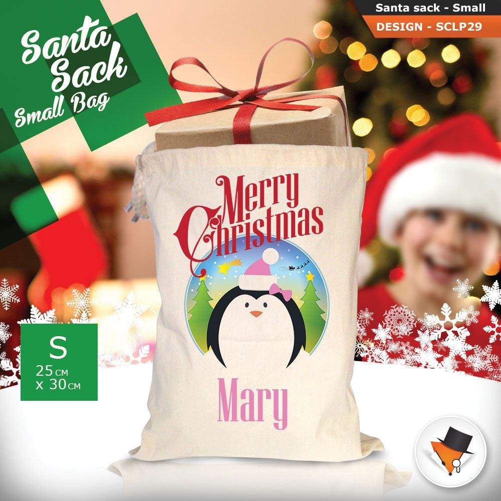 Personalizzato-Per-Bambini-Babbo-Natale-Sacco-Sacchetto-Di-Natale-Renna-Cartone-Animato-Carina-Rosa miniatura 73