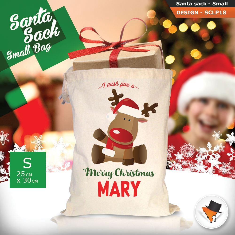 Personalizzato-Per-Bambini-Babbo-Natale-Sacco-Sacchetto-Cartone-Animato-Carina-Renna-Rosso miniatura 28