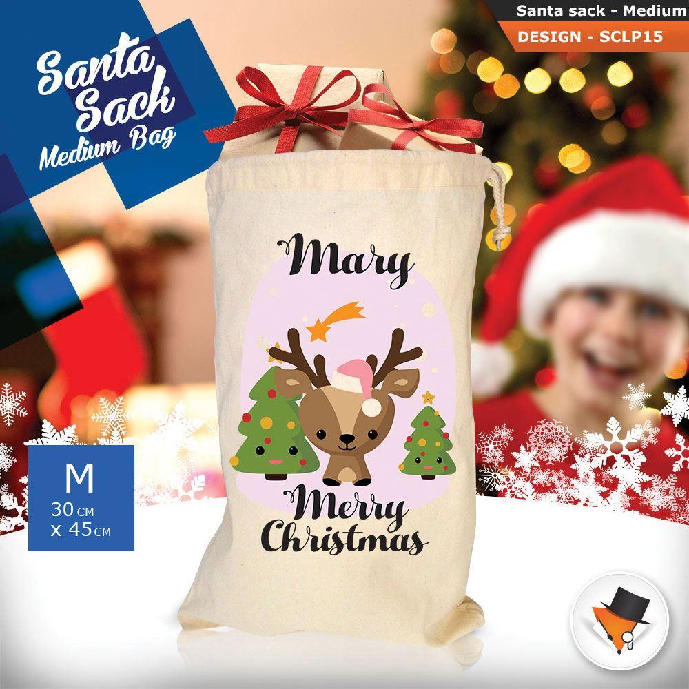 Personalizzato-Per-Bambini-Babbo-Natale-Sacco-Sacchetto-Cartone-Animato-Carina-Renna-Rosso miniatura 16