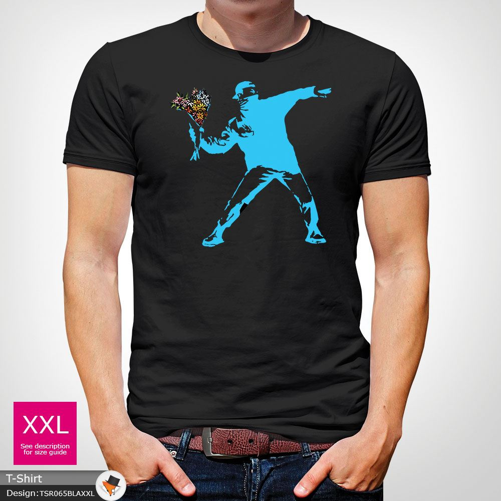 BANKSY-FLOWER-THROWER-STREET-ART-Tshirt-Unisex-T-Shirt-Christmas-Birthday-Blue miniatuur 7