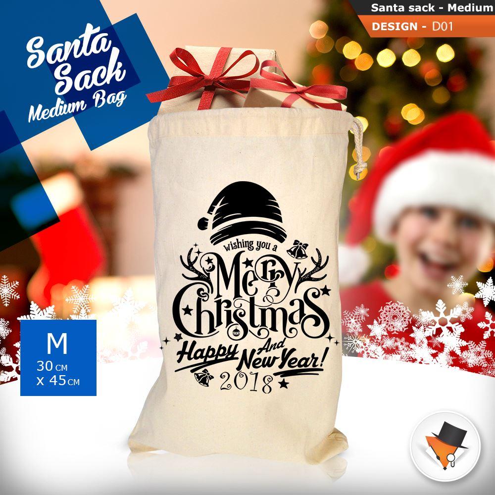 GRANDE-Babbo-Natale-Sacco-Babbo-Natale-Borsa-per-i-REGALI-DONI-NATALE-Calze-Di-Cotone miniatura 4