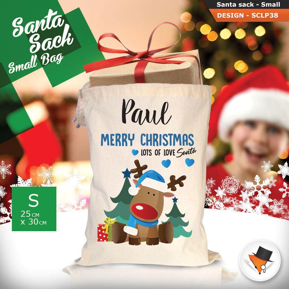 Personalizzato-Per-Bambini-Babbo-Natale-Sacco-Sacchetto-Cartone-Animato-Carina-Renna-Rosso miniatura 110
