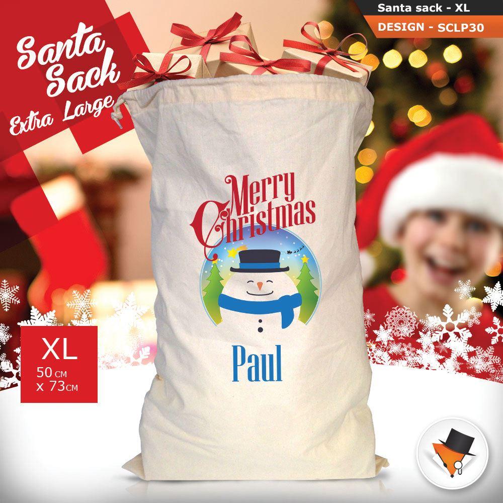 Personalizzato-Per-Bambini-Babbo-Natale-Sacco-Sacchetto-Cartone-Animato-Carina-Renna-Rosso miniatura 77