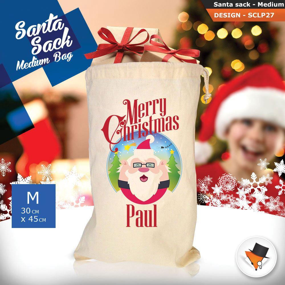 Personalizzato-Per-Bambini-Babbo-Natale-Sacco-Sacchetto-Cartone-Animato-Carina-Renna-Rosso miniatura 66