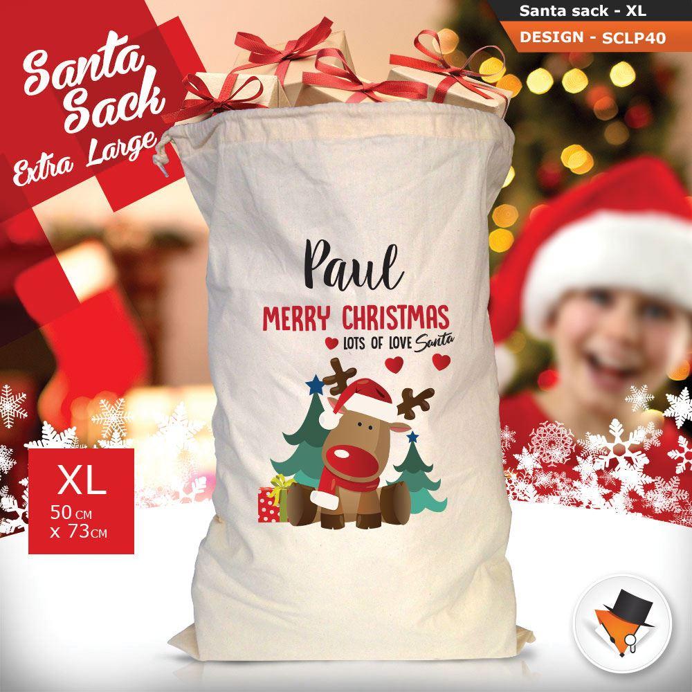 Personalizzato-Per-Bambini-Babbo-Natale-Sacco-Sacchetto-Cartone-Animato-Carina-Renna-Rosso miniatura 116