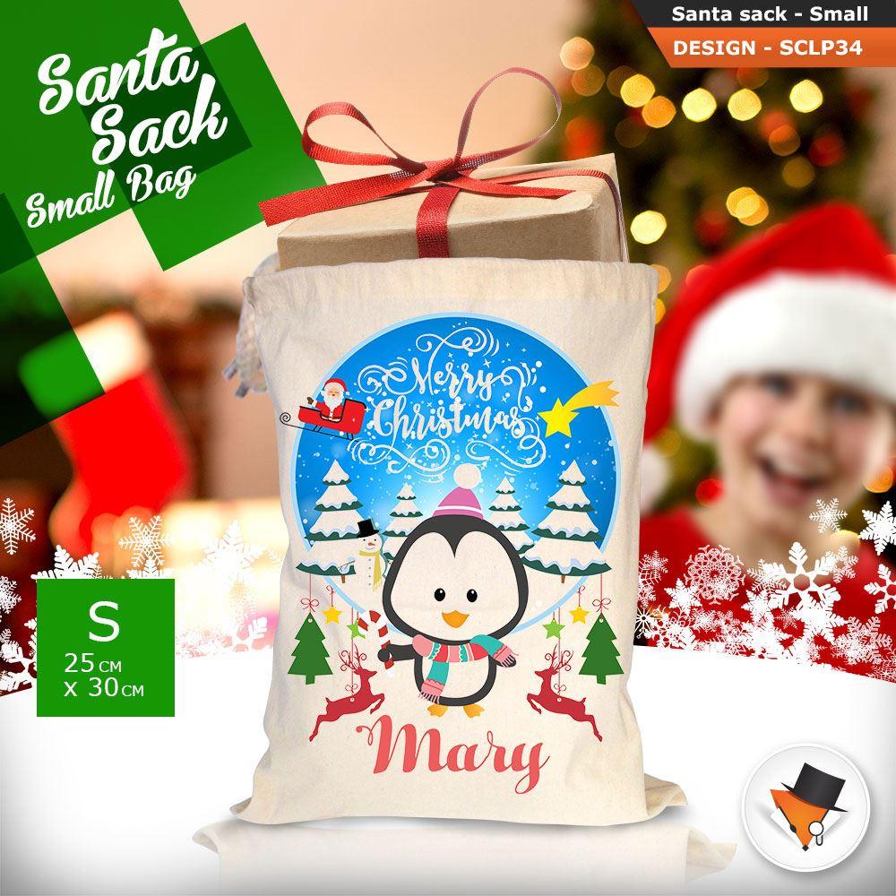 Personalizzato-Per-Bambini-Babbo-Natale-Sacco-Sacchetto-Cartone-Animato-Carina-Renna-Rosso miniatura 92