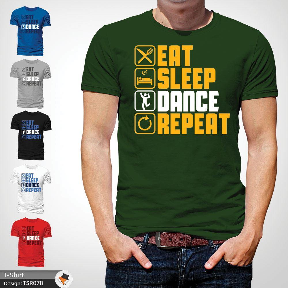 Eat Sleep Danse répéter pour homme adulte Raver T Shirt T-shirt Party People Gray