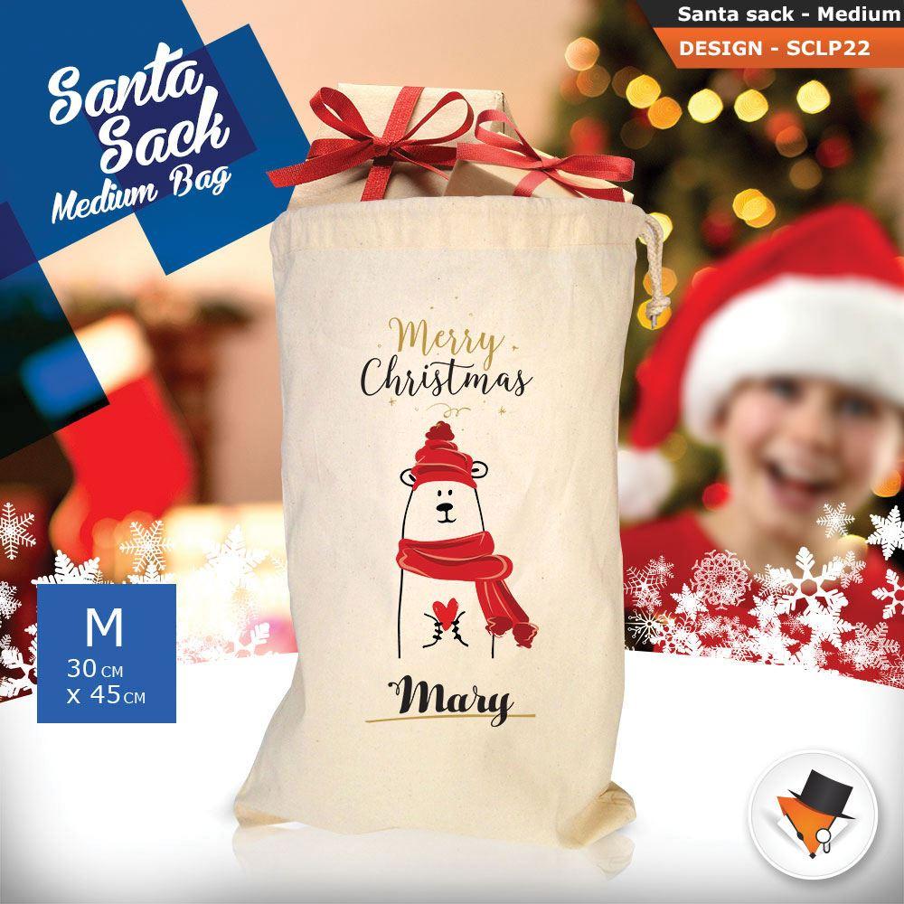 Personalizzato-Per-Bambini-Babbo-Natale-Sacco-Sacchetto-Cartone-Animato-Carina-Renna-Rosso miniatura 44
