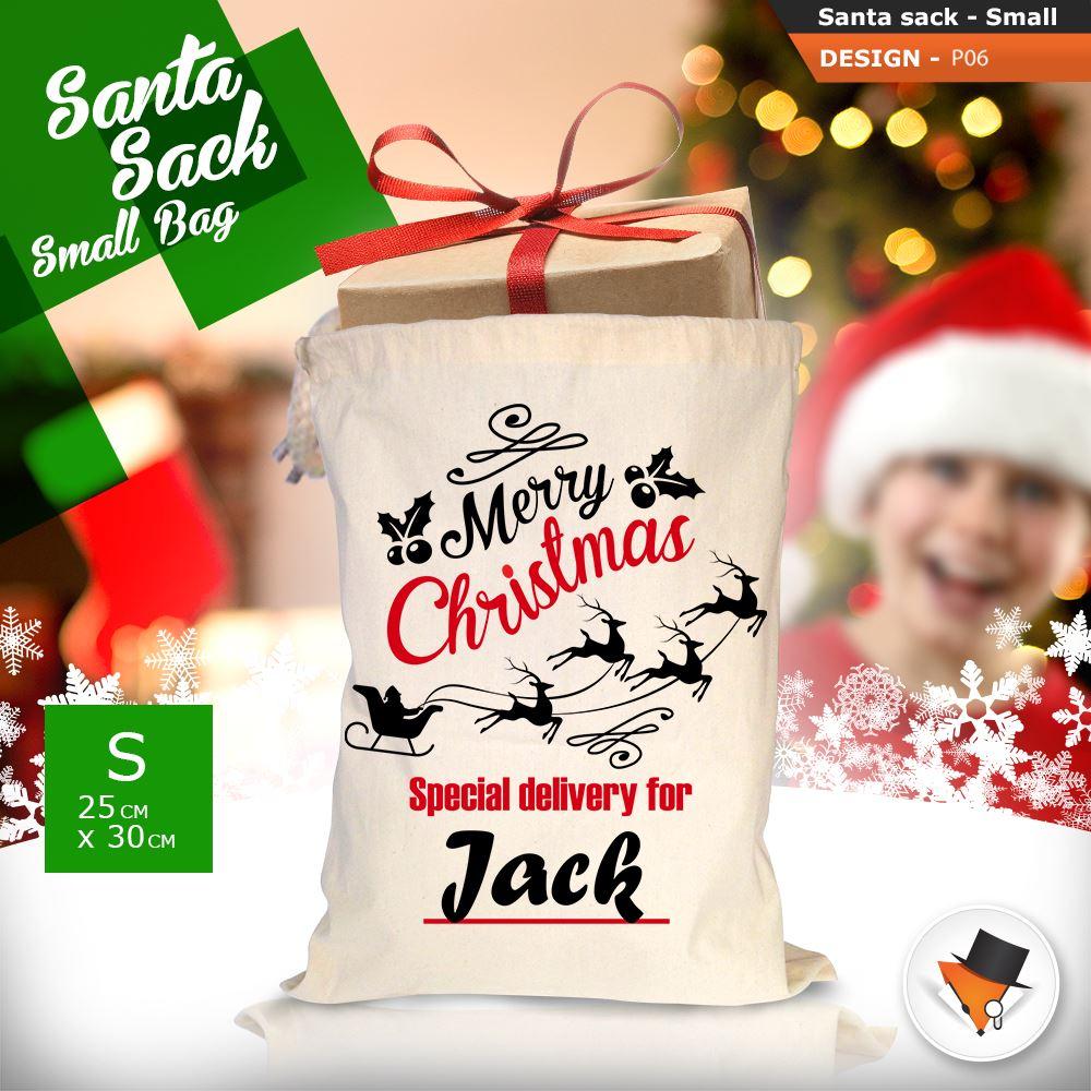 Personalised christmas sacks stocking cotton xmas gift bag