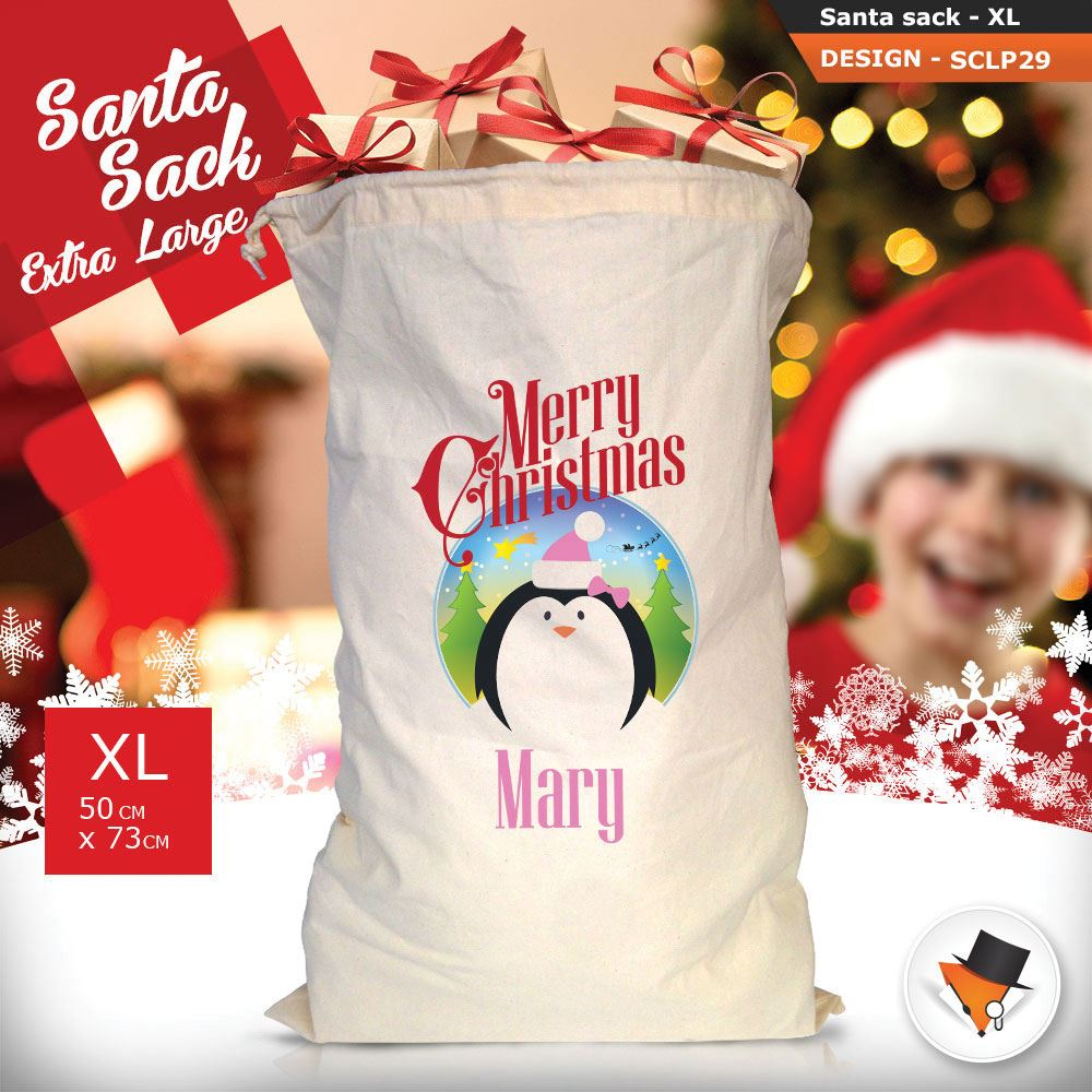 Personalizzato-ragazza-Renna-Natale-Xmas-Babbo-Natale-sacco-per-regalo-calza miniatura 74
