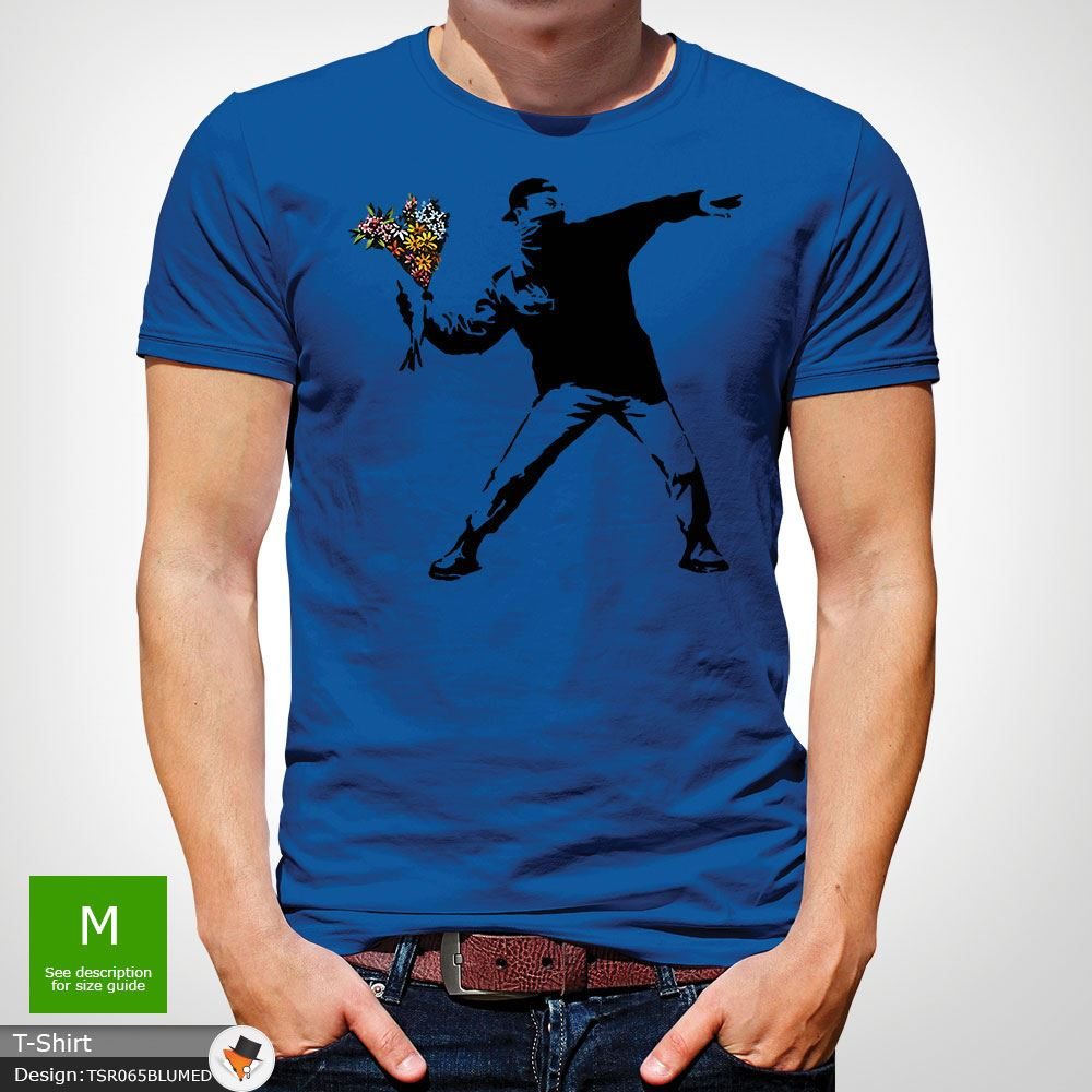 BANKSY-FLOWER-THROWER-STREET-ART-Tshirt-Unisex-T-Shirt-Christmas-Birthday-Blue miniatuur 40