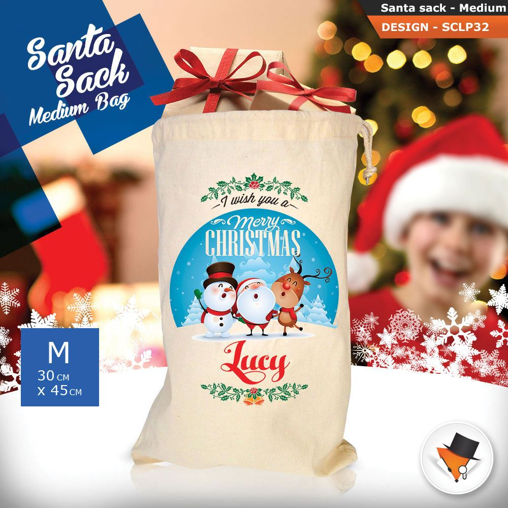 Personalizzato-Per-Bambini-Babbo-Natale-Sacco-Sacchetto-Di-Natale-Renna-Cartone-Animato-Carina-Rosa miniatura 84