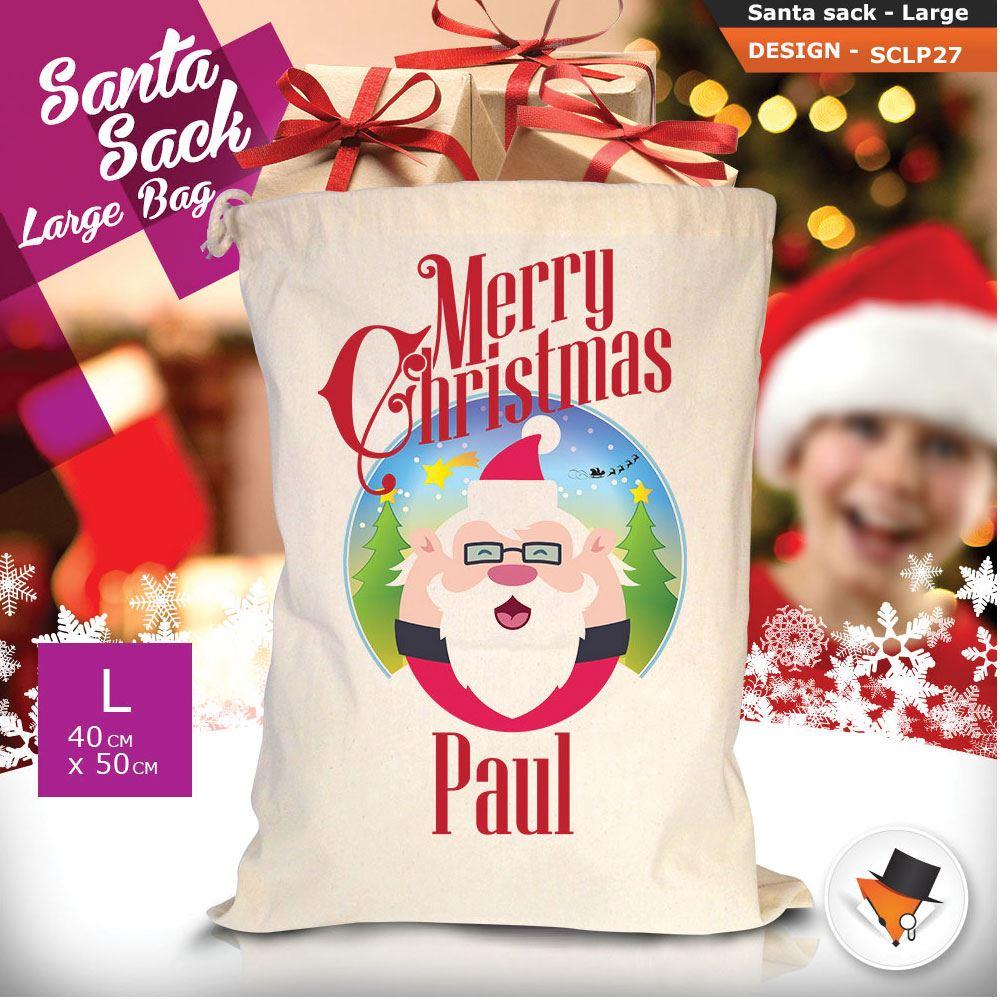 Personalizzato-Per-Bambini-Babbo-Natale-Sacco-Sacchetto-Di-Natale-Renna-Cartone-Animato-Carina-Rosa miniatura 66