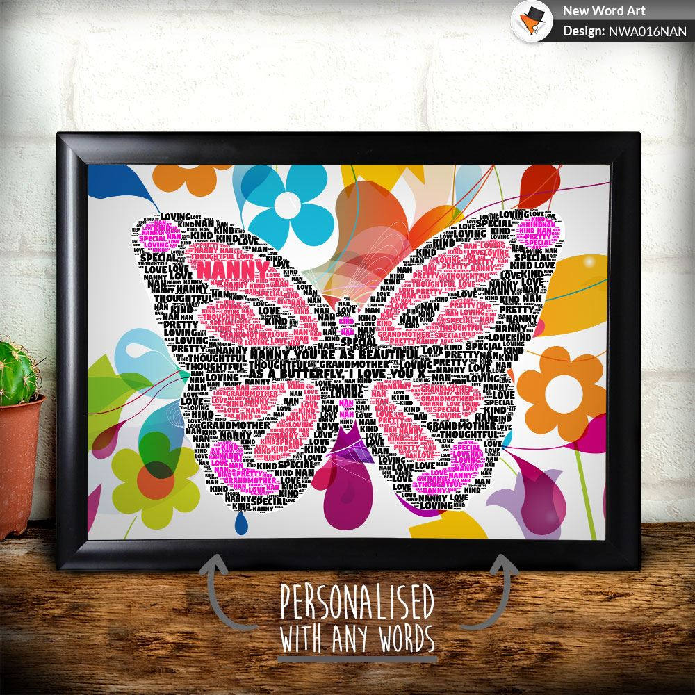 PERSONALISED BUTTERFLY NAN NANNY GRANDMOTHER BIRTHDAY CHRISTMAS GIFT ...