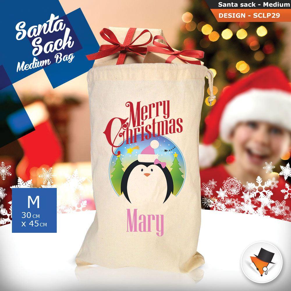 Personalizzato-Per-Bambini-Babbo-Natale-Sacco-Sacchetto-Cartone-Animato-Carina-Renna-Rosso miniatura 72