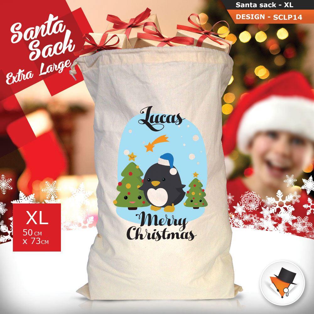Personalizzato-Per-Bambini-Babbo-Natale-Sacco-Sacchetto-Cartone-Animato-Carina-Renna-Rosso miniatura 14
